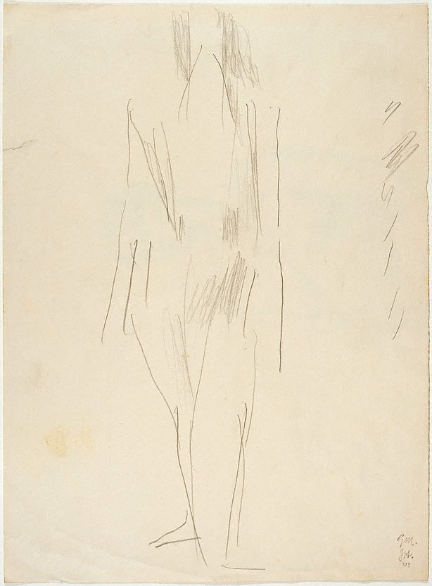 An image of recto: Figure drawing verso: Top half of drawing of female nude signed 'A. Black'
