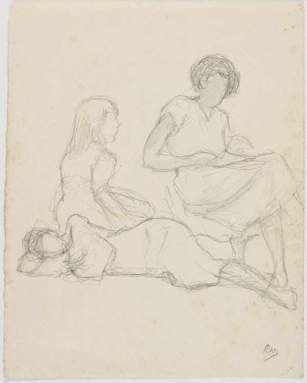 An image of recto: (Seated female figures) verso: (Life studies)