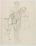 Alternate image of recto: (Seated female figures) verso: (Life studies) by Roland Wakelin