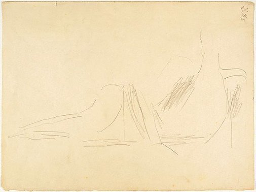 An image of recto: Reclining figure verso: Drawing of shoes (probably not by Miller) by Godfrey Miller