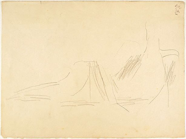 An image of recto: Reclining figure verso: Drawing of shoes (probably not by Miller)