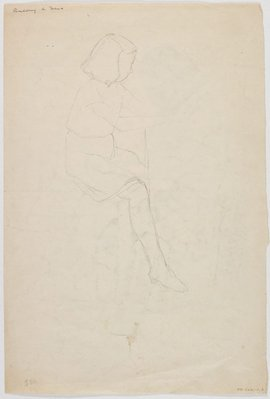Alternate image of verso: (Seated girl, shredding beans) recto: (Seated girl) by Roland Wakelin