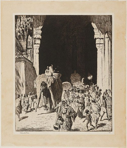 An image of A Temple entry, Madura by Lionel Lindsay