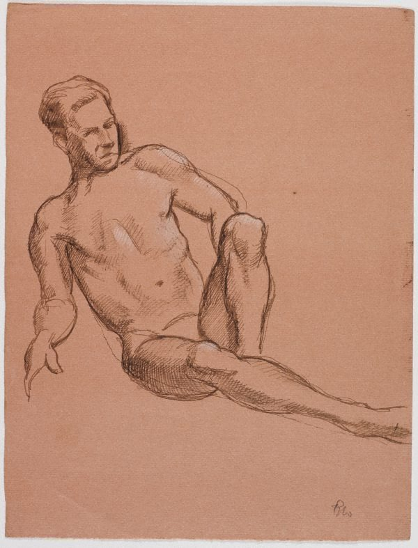 An image of recto: (Reclining male nude) verso: (Standing male nude)