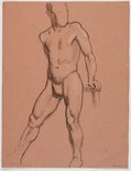 Alternate image of recto: (Reclining male nude) verso: (Standing male nude) by Roland Wakelin