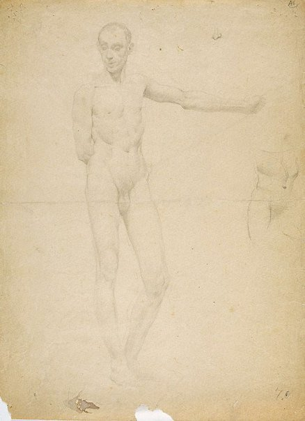 An image of (Female figure studies; one from rear) (Student studies) by William Dobell