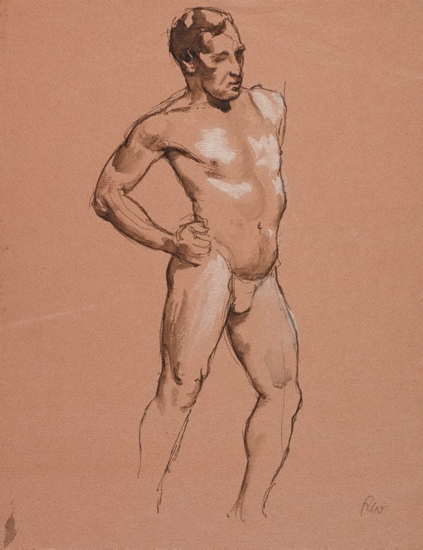 An image of (Standing male nude, hand on hip)
