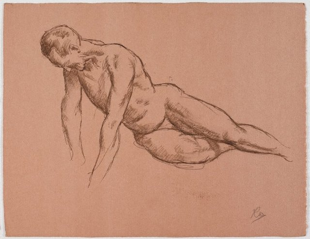 An image of recto: (Reclining male nude, leaning forward) verso: (Reclining male nude, leaning forward)