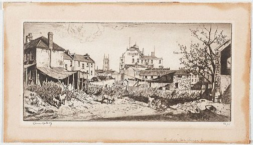 An image of The Rocks at Princes Street by Lionel Lindsay