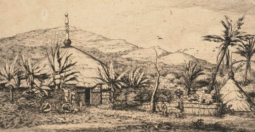 An image of New Caledonia: large native hut on the road from Ballade to Popéo, 1845 by Charles Meryon