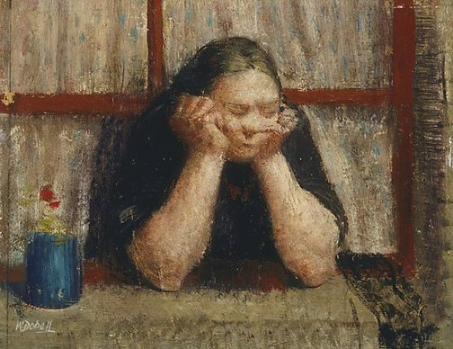 An image of Woman watching a funeral by William Dobell