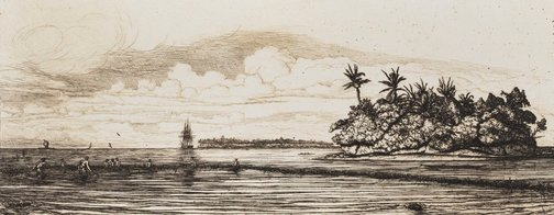 An image of Oceania: fishing near islands with palms in the Uea or Wallace group, 1845 by Charles Meryon