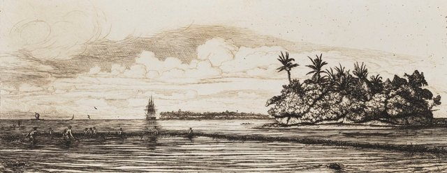 An image of Oceania: fishing near islands with palms in the Uea or Wallace group, 1845