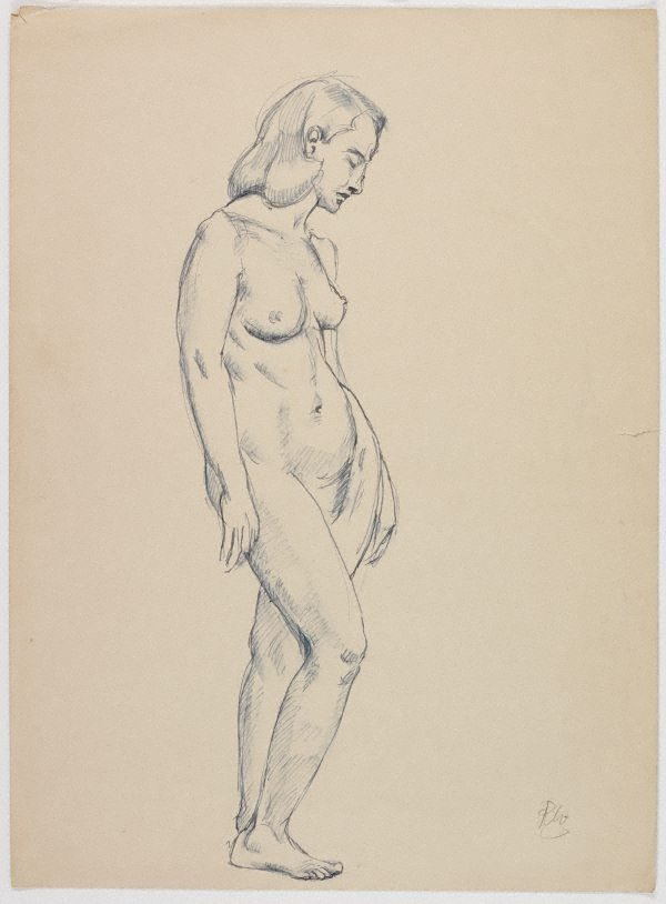 An image of recto: (Standing female nude) verso: (Seated female nude)