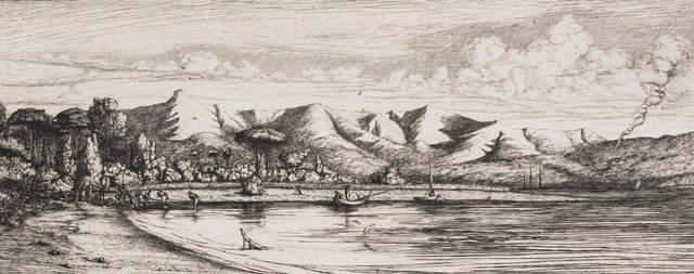 An image of Seine, fishing off Colloer's Point, Akaroa, Banks Peninsula, 1845 Akaroa.