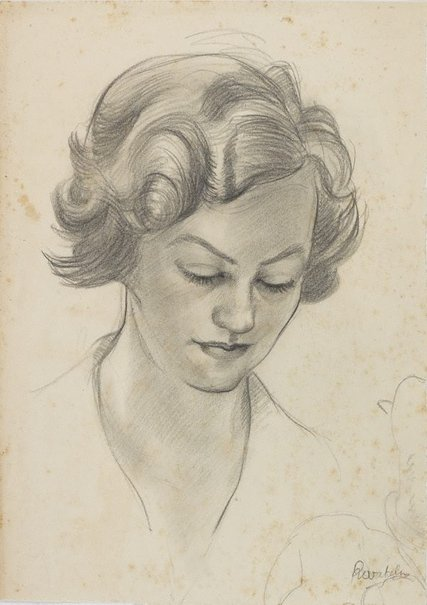 An image of (Female head study) by Roland Wakelin