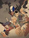 Alternate image of Ii no Hayata killing a nue at the Imperial Palace by Tsukioka Yoshitoshi