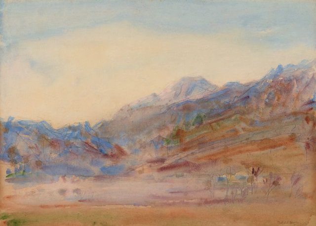 An image of recto: Mist in the Italian Alps verso: (landscape study)