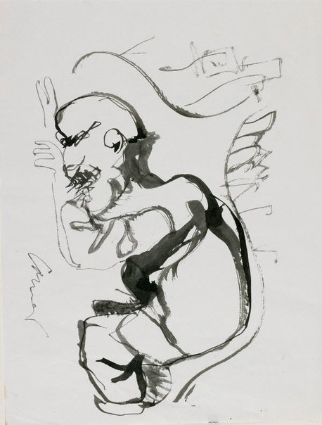 An image of Haymarket drawing (Crouching man) by Kevin Connor