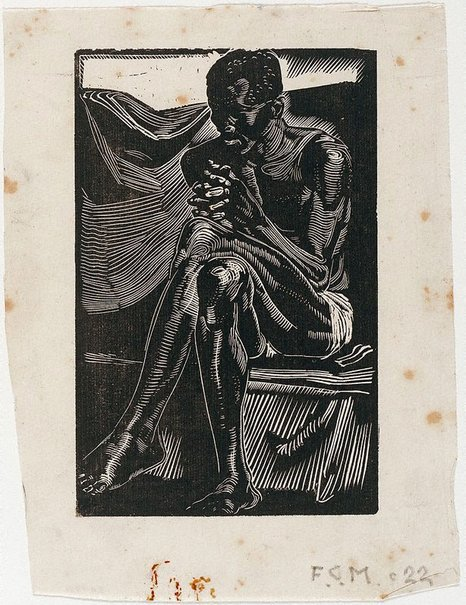An image of Untitled (Negro seated, with hands clasped) by Frank Medworth