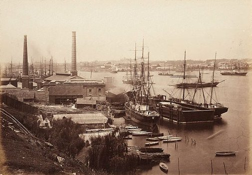 An image of Rowntree's floating dock with the ships Wentworth and Rachel, and Australian Gas Light Works in the background, Darling Harbour by Charles Bayliss