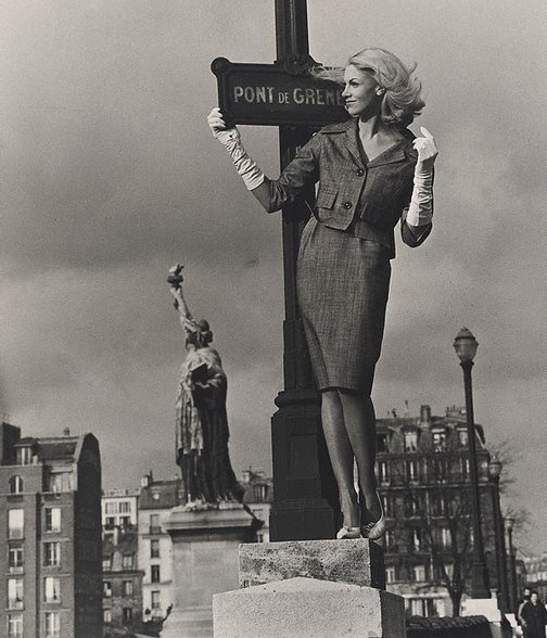 An image of Sally Greenhill, model, Pont de Grenelle, Paris by Lewis Morley