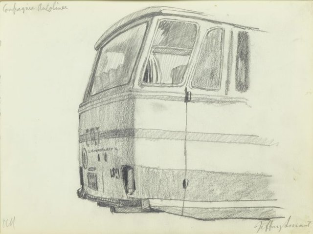 An image of Study for 'The city bus station' 1985-86