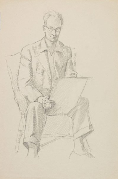 An image of (Self portrait, seated) by Roland Wakelin