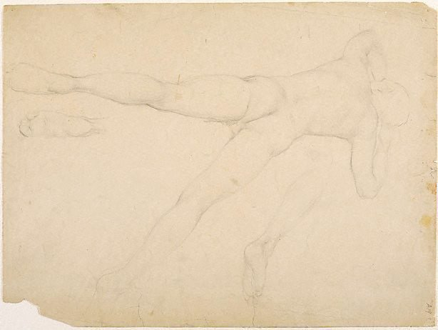 An image of (Male nude reclining; foot and leg studies) (Student studies)