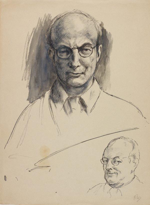 An image of (Male head studies – self portrait)