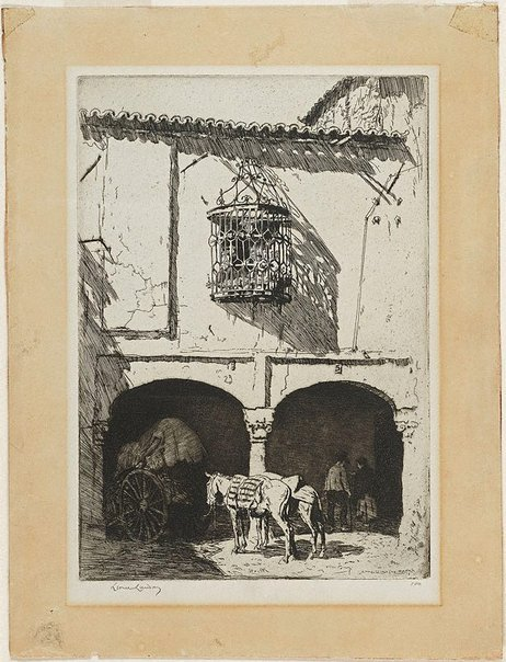 An image of In Zafra Market, Spain by Lionel Lindsay