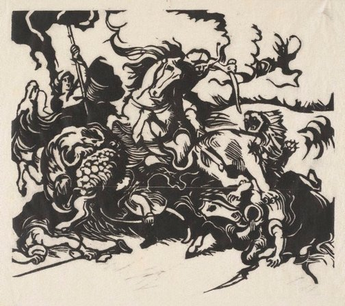 An image of Löwenjagd nach Delacroix  woodcut print, by Franz Marc