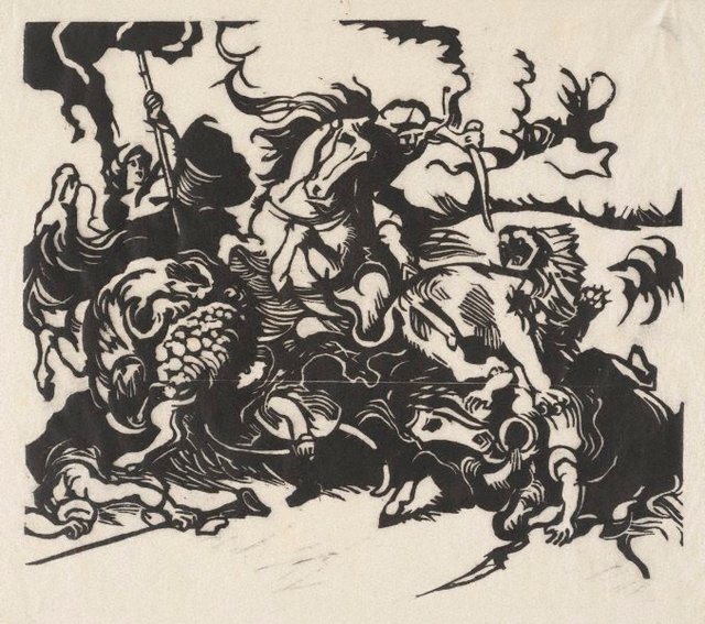 An image of Löwenjagd nach Delacroix  woodcut print,