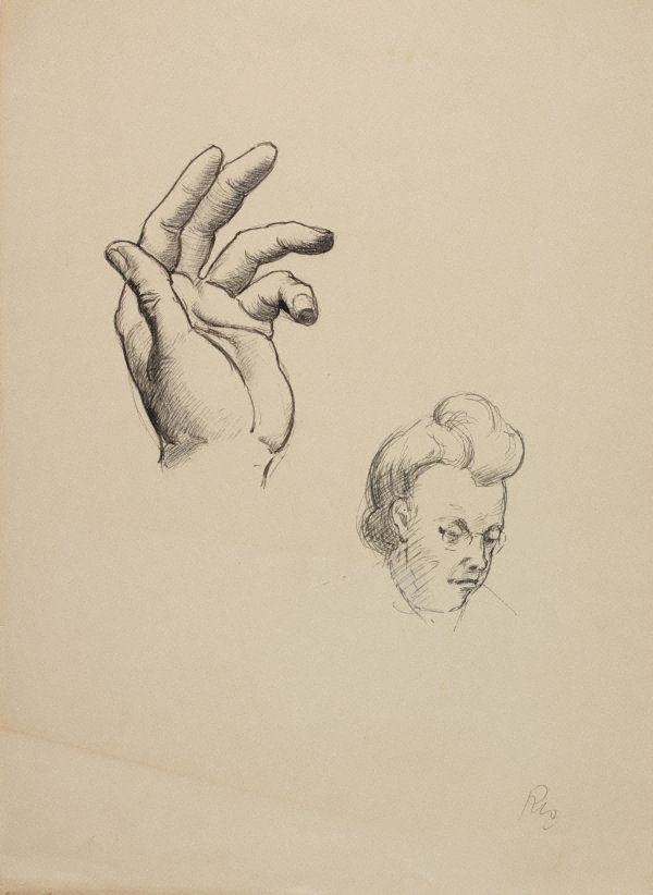 An image of (Hand study and womans head)