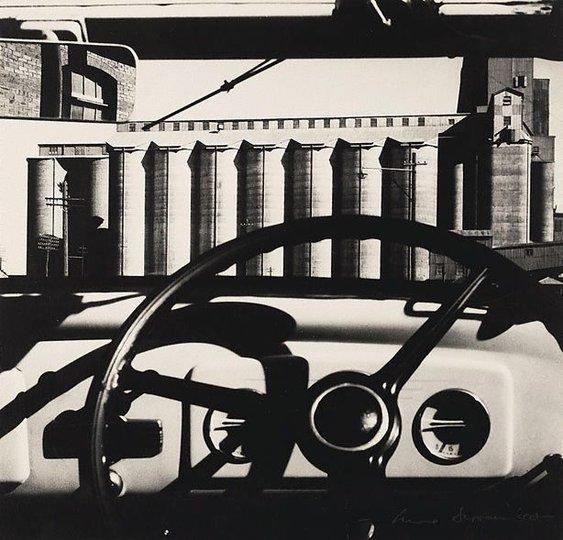 AGNSW collection Max Dupain Silos through windscreen (circa 1935, printed 1970s) 505.1996