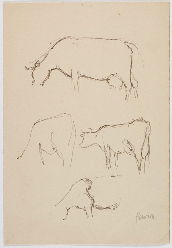 An image of recto: (Cow studies) verso: (Studies of a cow and seated male figure)