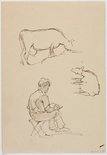 Alternate image of recto: (Cow studies) verso: (Studies of a cow and seated male figure) by Roland Wakelin