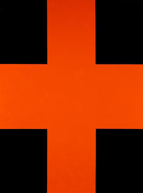 Black and orange cross, (1992) by John Nixon