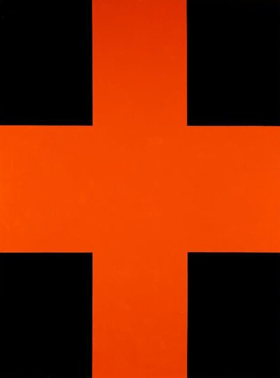 AGNSW collection John Nixon Black and orange cross (1992) 51.1998