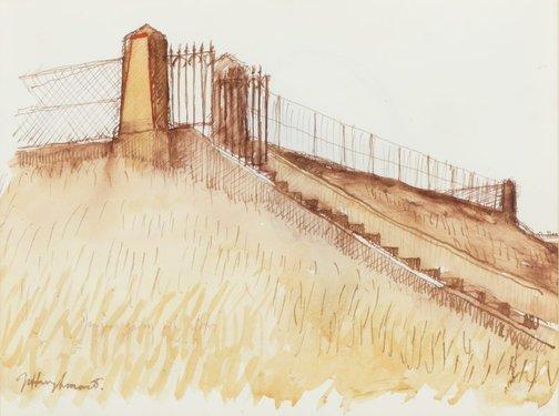 An image of Study for 'The reservoir, Centennial Park' 1988 by Jeffrey Smart