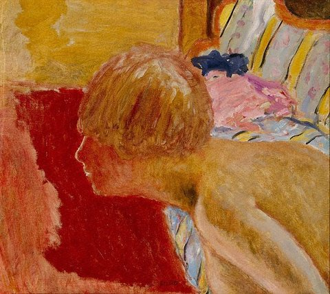 Bust in profile, red background (study), (circa 1920) by Pierre Bonnard