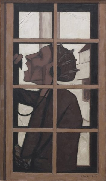 An image of The telephone box by John Brack