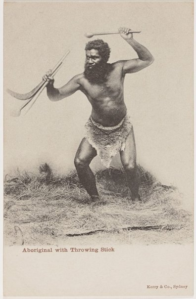 An image of Aboriginal with throwing stick by Unknown photographer, Kerry & Co