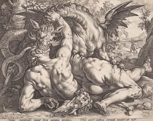 An image of The dragon devouring the companions of Cadmus by Hendrick Goltzius, after Cornelis van Haarlem