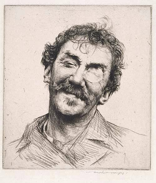 An image of Portrait of Whistler by Mortimer L Menpes
