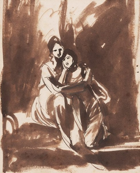 An image of A study of two women: a sketch for the Milner sisters by George Romney