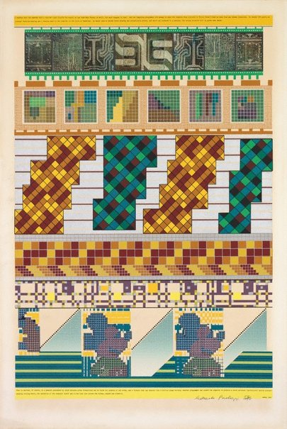 An image of A formula that can shatter into a million glass bullets by Sir Eduardo Paolozzi