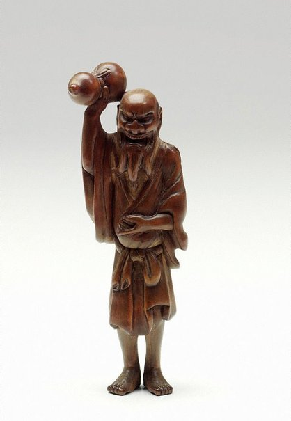 An image of Netsuke in the form of Chôkarô 'sennin' with a gourd by