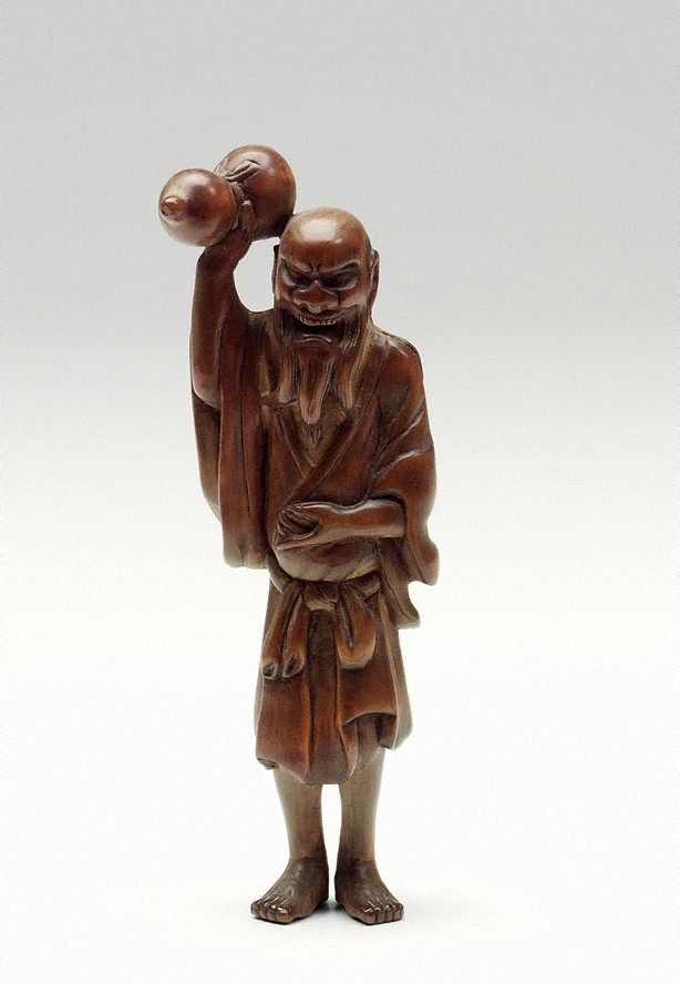 An image of Netsuke in the form of Chôkarô 'sennin' with a gourd