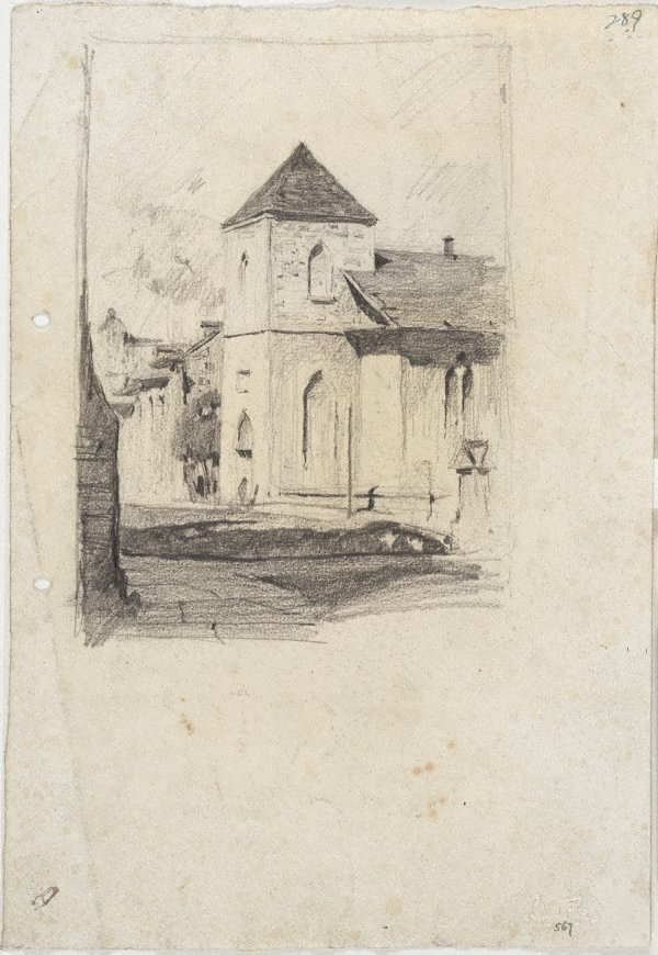 An image of recto: Scots Kirk on Church Hill verso: A gabled house